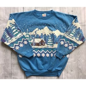 Vintage '80s WINTER All-Over Print Crewneck